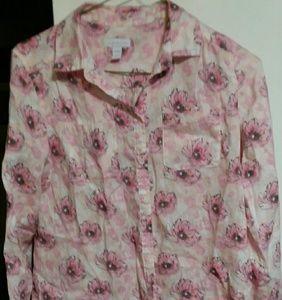 Charter Club 10p% Linen Button Down Shirt sz M